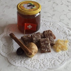 Basler Läckerli (spiced gingerbreads) with ingredients
